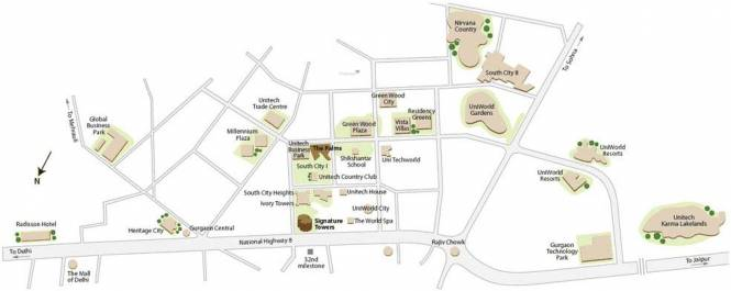 Unitech The Palms Location Plan