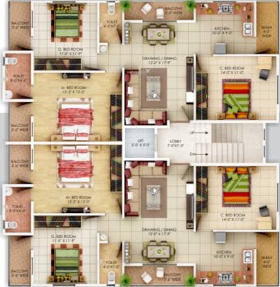 estate A Wing Cluster Plan