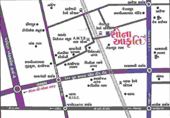 Dwarkesh Sona Akruti Location Plan