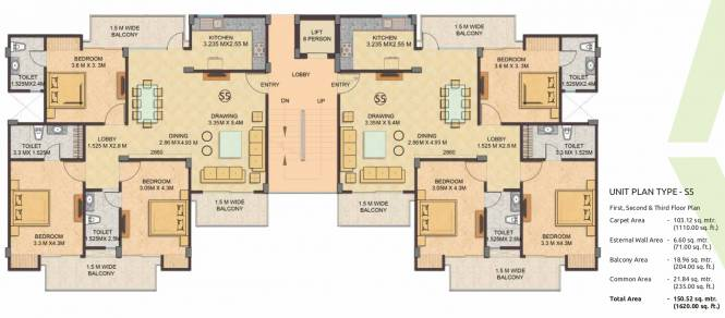 Gaursons 16th Park View Independent Floors Cluster Plan