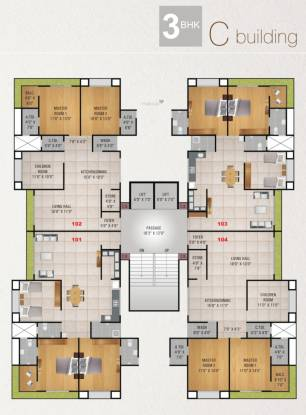 luxury Tower C Cluster Plan from 1st to 13th Floor