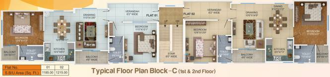 sai-plaza Block C Cluster Plan from 1st to 2nd Floor