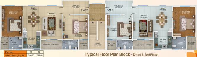 sai-plaza Block D Cluster Plan from 1st to 2nd Floor