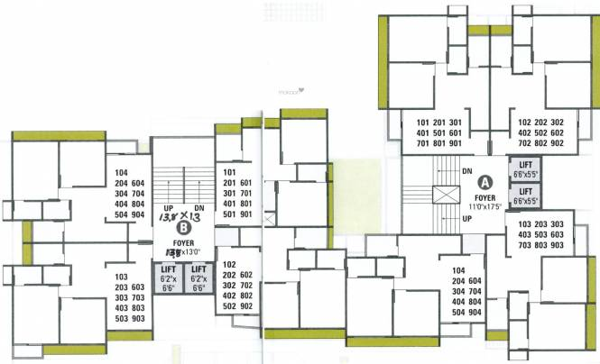 pushpam-heights A And B Cluster Plan from 1st to 9th Floor