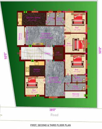 devis-shanmuga-flats Devis Shanmuga Flats Cluster Plan from 1st to 3rd Floor