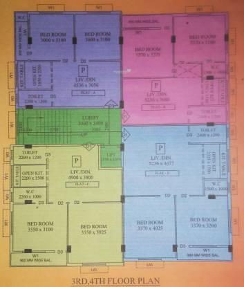 kunja Shree Kunja Cluster Plan from 3rd to 4th Floor