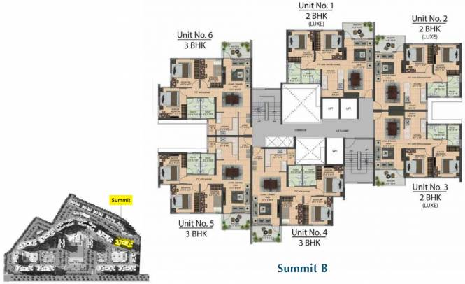 joyville-howrah-tower-b6-b7-summit-a-and-b Summit A Cluster Plan from 1st to 20th Floor