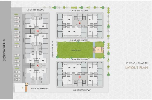 exotica A, B, C And D  Cluster Plan from 2nd to 7th Floor