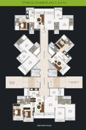 tulsi-heights Tulsi Heights Cluster Plan for 2nd, 4th, 6th And 8th Floor Plan