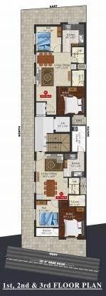 lakshmi Meenakshi Lakshmi Cluster Plan from 1st to 3rd Floor