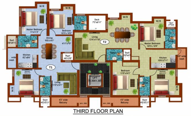 sahana Kaaviya Sahana Cluster Plan for 3rd Floor