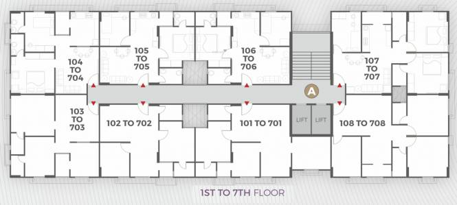 apaar-dream-homes Block A Cluster Plan from 1st to 7th Floor