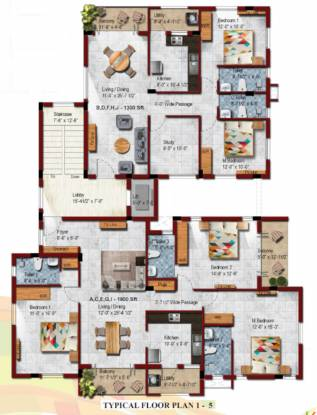 block-21-p-t-rajan-salai Block 21 P T Rajan Salai Cluster Plan from 1st to 5th Floor