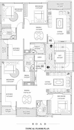 home-sweet-homes Home Sweet Homes Cluster Plan from 1st to 4th Floor
