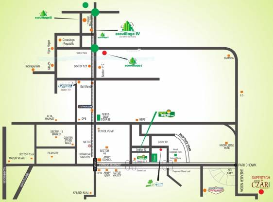 Supertech Eco Village 2 Location Plan
