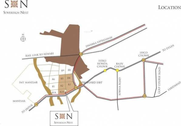 Vatika Sovereign Next Location Plan