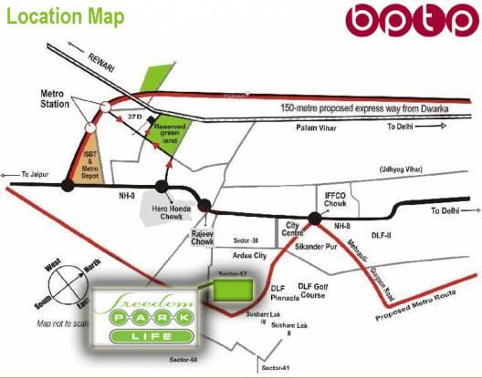 BPTP Freedom Park Life Location Plan