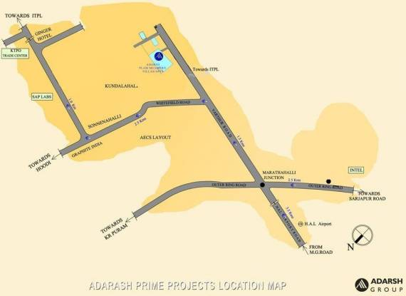 Adarsh Palm Meadows Location Plan