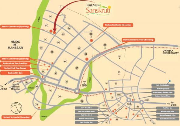 Bestech Park View Sanskruti Location Plan