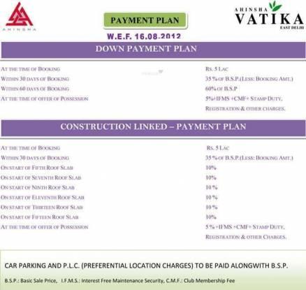 Ahinsha Ahinsha Vatika Payment Plan