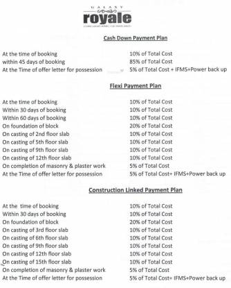 Galaxy Royale Payment Plan