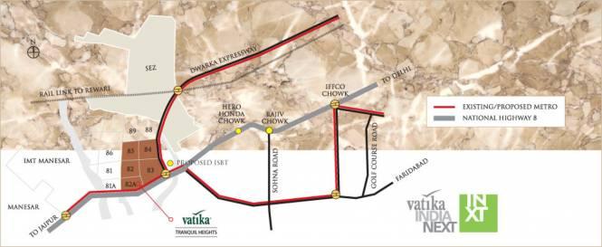 Vatika Tranquil Heights Location Plan