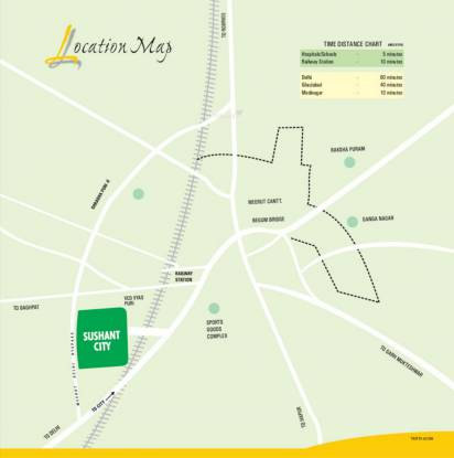 Ansal Sushant City Meerut Location Plan