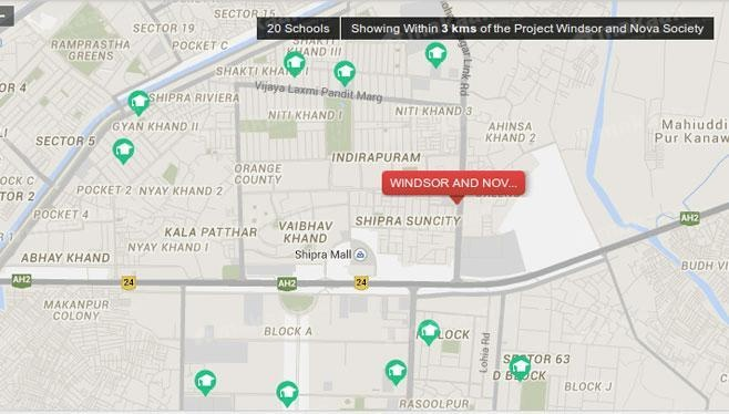 Shipra Estate Pvt Ltd Windsor and Nova Society Location Plan