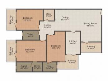 1747 sqft, 3 bhk Apartment in Jaipuria Sunrise Greens VIP Rd, Zirakpur at Rs. 16000