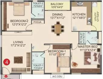 1630 sqft, 3 bhk Apartment in Muppa Green Grandeur Gopanpally, Hyderabad at Rs. 95.0000 Lacs