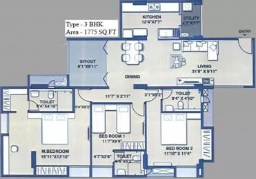 1775 sqft, 3 bhk Apartment in SPRRG Osian Chlorophyll Porur, Chennai at Rs. 1.3000 Cr
