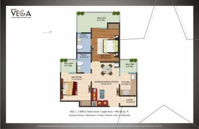 995 sqft, 2 bhk Apartment in Galaxy Vega Techzone 4, Greater Noida at Rs. 35.0000 Lacs