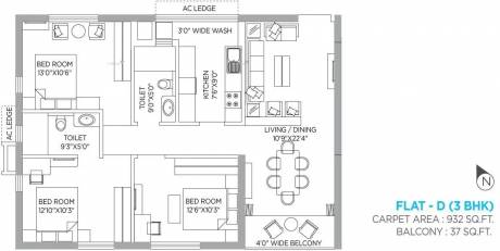 1211 sqft, 3 bhk Apartment in PS Panache Salt Lake City, Kolkata at Rs. 35000