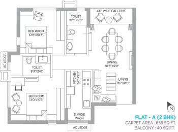 852 sqft, 2 bhk Apartment in PS Panache Salt Lake City, Kolkata at Rs. 20000