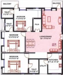 1780 sqft, 3 bhk Apartment in Arjun ARK Towers Miyapur, Hyderabad at Rs. 20000