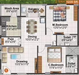 1235 sqft, 2 bhk Apartment in Concrete Destina Serilingampally, Hyderabad at Rs. 70.0000 Lacs