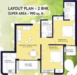 990 sqft, 2 bhk Apartment in Nilaya Central Park Raj Nagar Extension, Ghaziabad at Rs. 29.7000 Lacs