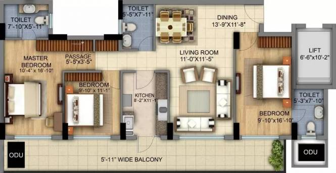 1930 sqft, 3 bhk Apartment in DLF The Skycourt Sector 86, Gurgaon at Rs. 1.3450 Cr