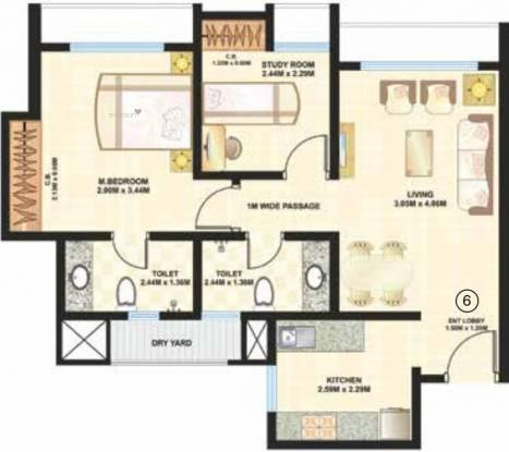938 sqft, 2 bhk Apartment in Dosti Desire Dosti Joy Thane West, Mumbai at Rs. 93.1669 Lacs