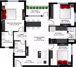 1254 sqft, 3 bhk Apartment in Godrej Prakriti Sodepur, Kolkata at Rs. 14000