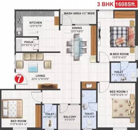 1608 sqft, 3 bhk Apartment in Utkarsha Abodes Madhurawada, Visakhapatnam at Rs. 56.2800 Lacs