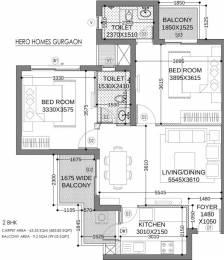 684 sqft, 2 bhk Apartment in Hero Homes Gurgaon Sector 104, Gurgaon at Rs. 63.4673 Lacs