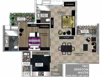 1307 sqft, 2 bhk Apartment in Builder Project Zirakpur punjab, Chandigarh at Rs. 12100