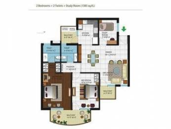 1385 sqft, 2 bhk Apartment in Builder Project Zirakpur punjab, Chandigarh at Rs. 15000