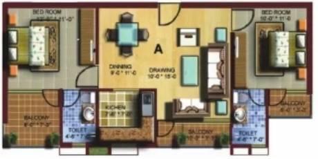 1080 sqft, 2 bhk Apartment in PRL Paras Pride Vrindavan, Mathura at Rs. 12000