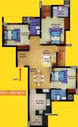 1567 sqft, 3 bhk Apartment in Sun Elecasa Aakkulam, Trivandrum at Rs. 80.0000 Lacs