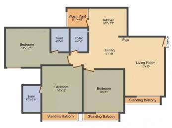 1376 sqft, 3 bhk Apartment in Gala Marigold Bopal, Ahmedabad at Rs. 18000