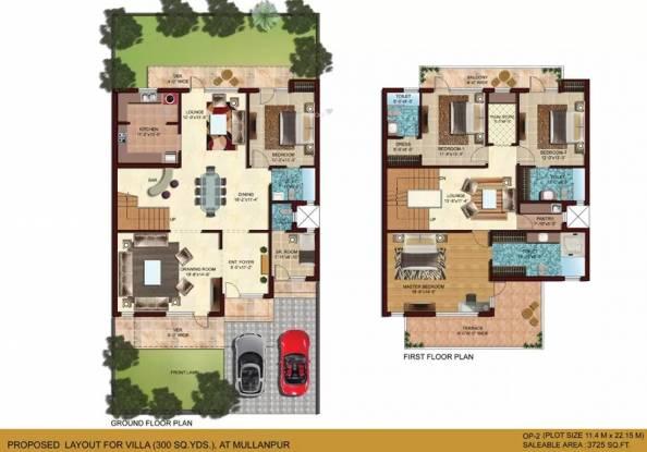 3725 sqft, 4 bhk Villa in Omaxe Mulberry Villas Mullanpur, Mohali at Rs. 1.8800 Cr