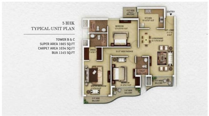 1665 sqft, 3 bhk Apartment in Paras Dews Sector 106, Gurgaon at Rs. 98.2350 Lacs