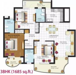 1685 sqft, 3 bhk Apartment in Malwa Escon Arena Nagla, Zirakpur at Rs. 16500